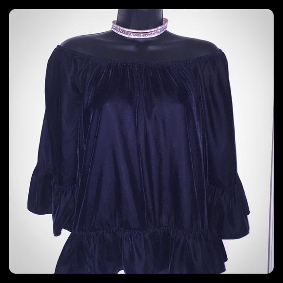 New York & Company Tops - Dark blue velvet off the shoulder top